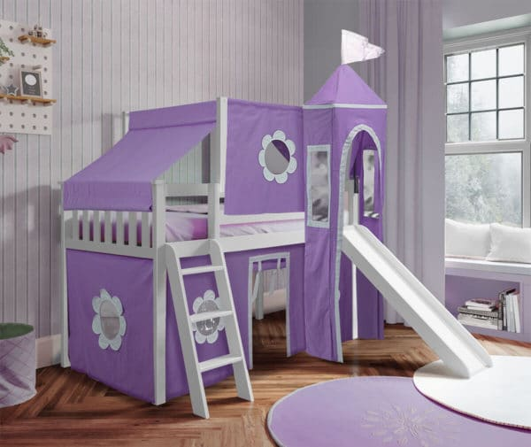 jackpot york twin play loft purple curtain with angled ladder slide top tent white