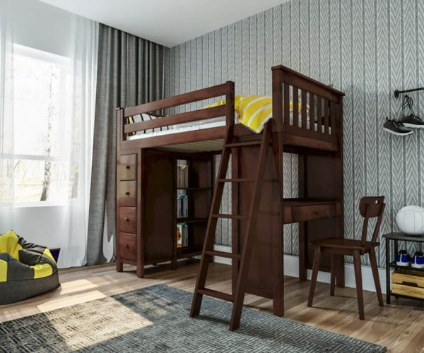 jackpot kensington loft bed with storage and chair espresso