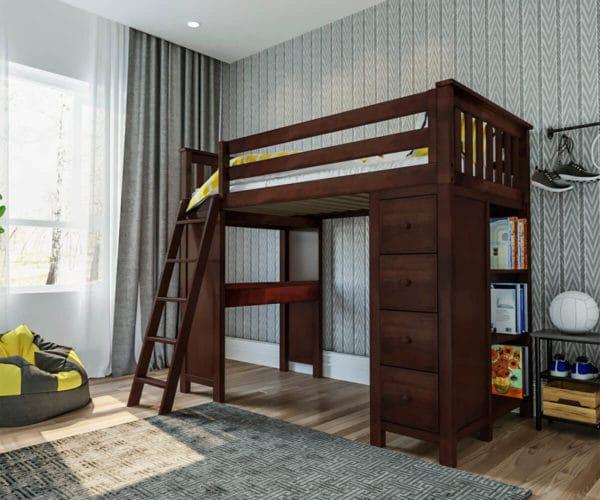 jackpot kensington loft bed with ladder and storage espresso