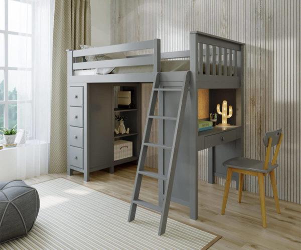 jackpot kensington loft bed with ladder and storage grey