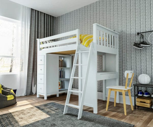 jackpot kensington loft bed with storage and chair white