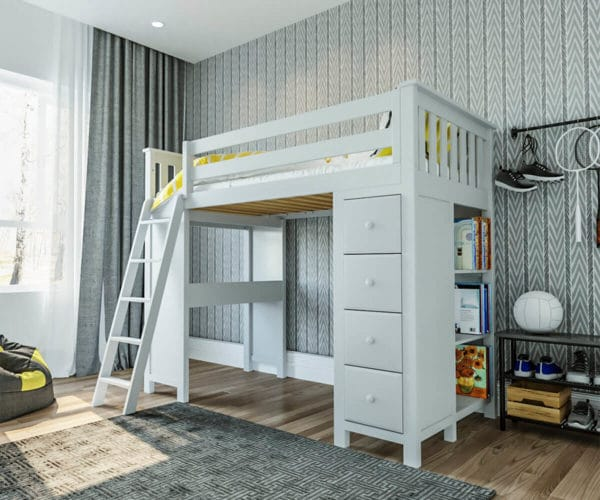 jackpot kensington loft bed with ladder and storage white