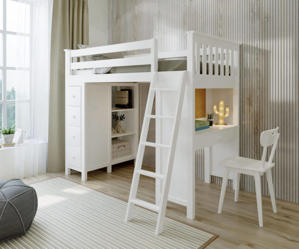 jackpot kensington loft bed with ladder chair and storage white