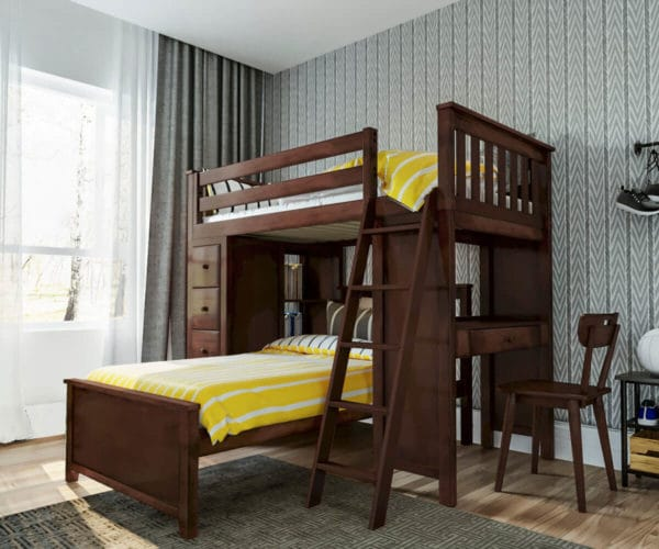 jackpot kensington loft bed twin over twin espresso