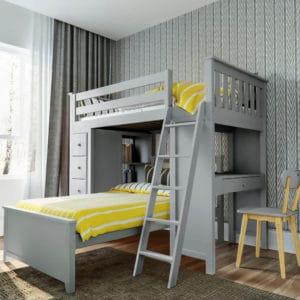 jackpot kensington loft bed twin over twin grey