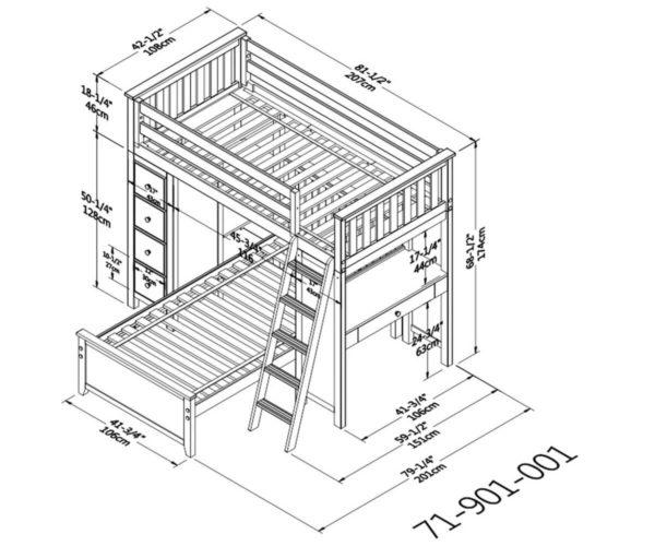 jackpot kensington loft bed twin over twin dimension diagram