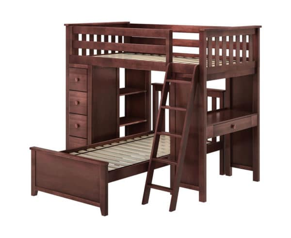jackpot kensington loft bed twin over twin espresso right view
