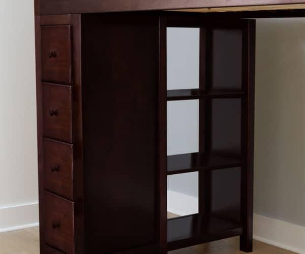jackpot kensington loft bed twin over twin espresso shelf detail