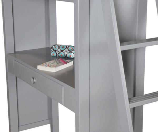 jackpot kensington loft bed twin over twin grey desk detail