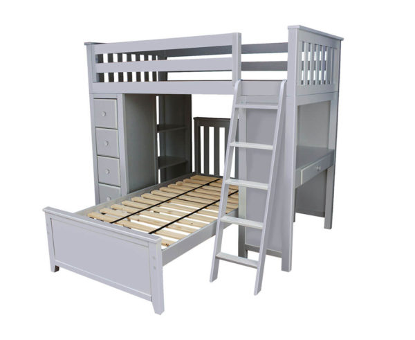 jackpot kensington loft bed twin over twin grey right view
