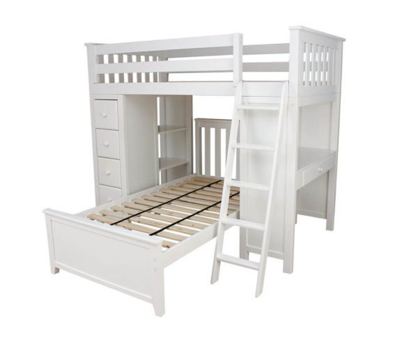 jackpot kensington loft bed twin over twin white right view