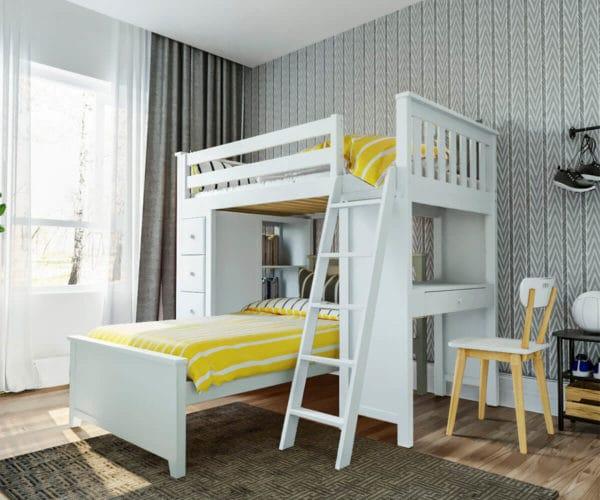 jackpot kensington loft bed twin over twin white