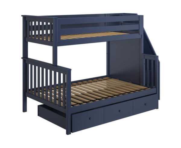 jackpot newcastle twin full bunk bed navy blue with trundle left view