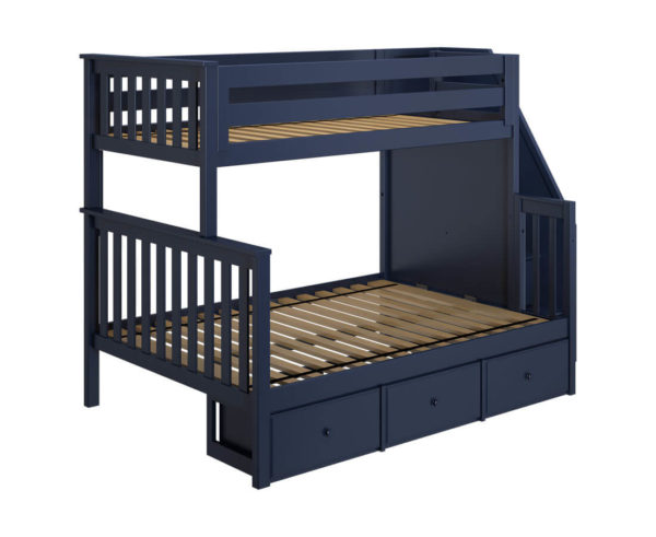 jackpot newcastle twin full bunk bed navy blue with underbed drawers left view