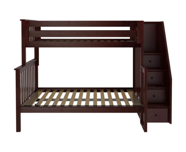 jackpot newcastle twin full bunk bed espresso front view