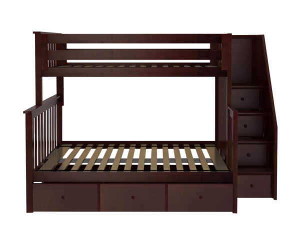 jackpot newcastle twin full bunk bed espresso with trundle front view