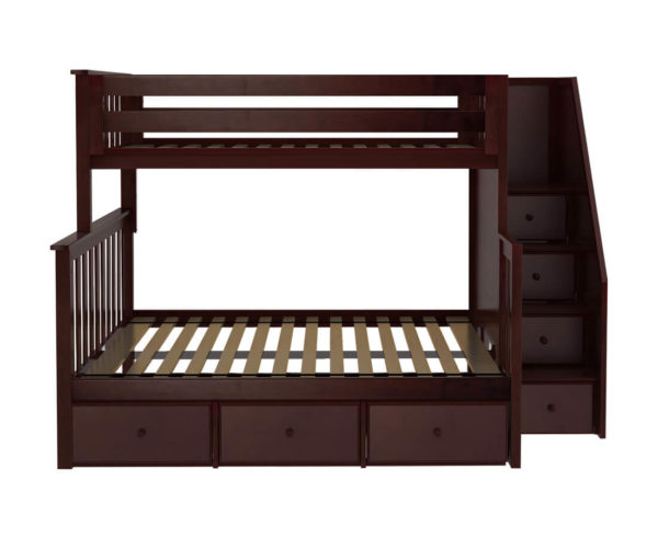 jackpot newcastle twin full bunk bed espresso with underbed drawers front view