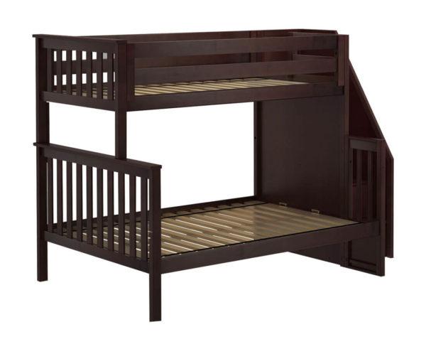 jackpot newcastle twin full bunk bed espresso left view