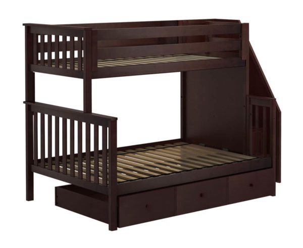 jackpot newcastle twin full bunk bed espresso with trundle left view