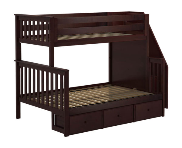 jackpot newcastle twin full bunk bed espresso with underbed drawers left view