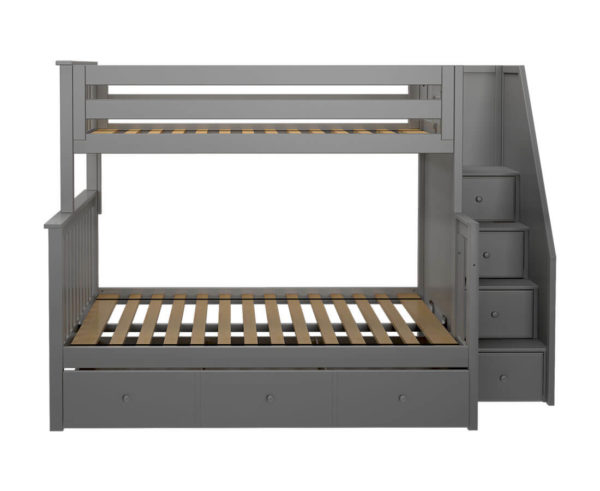 jackpot newcastle twin full bunk bed grey with trundle front view