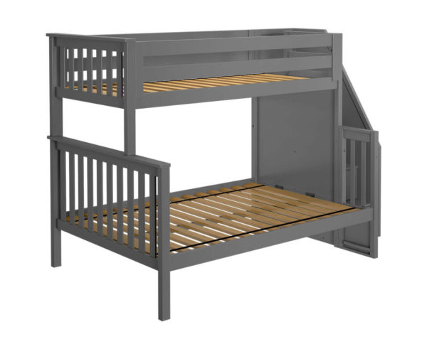 jackpot newcastle twin full bunk bed grey left view