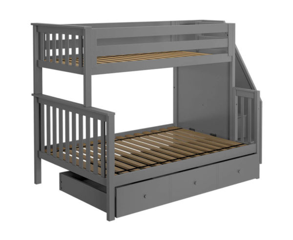 jackpot newcastle twin full bunk bed grey with trundle left view