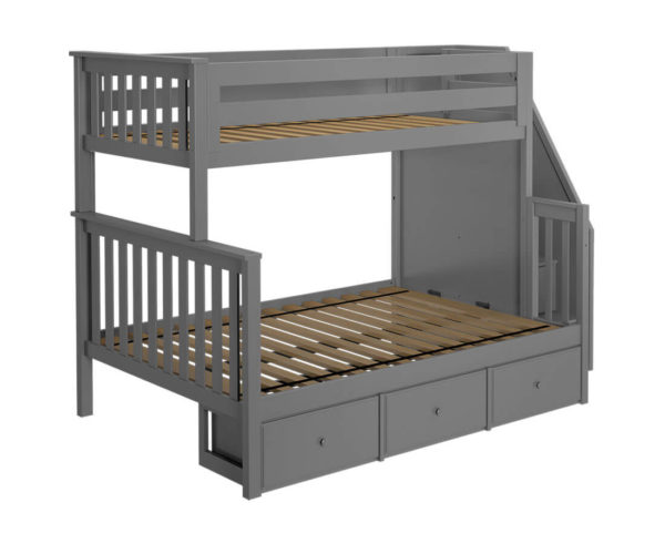 jackpot newcastle twin full bunk bed grey with underbed drawers left view