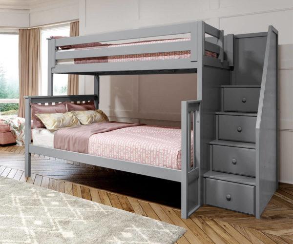 jackpot newcastle twin full bunk bed grey