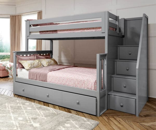 jackpot newcastle twin full bunk bed grey with underbed trundle