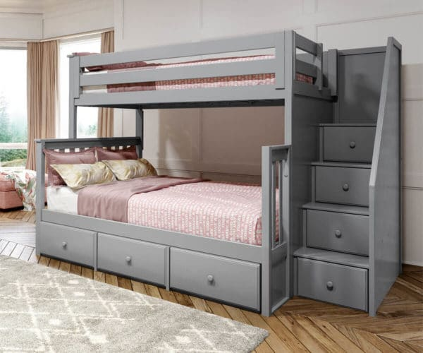 jackpot newcastle twin full bunk bed grey with 3 underbed drawers