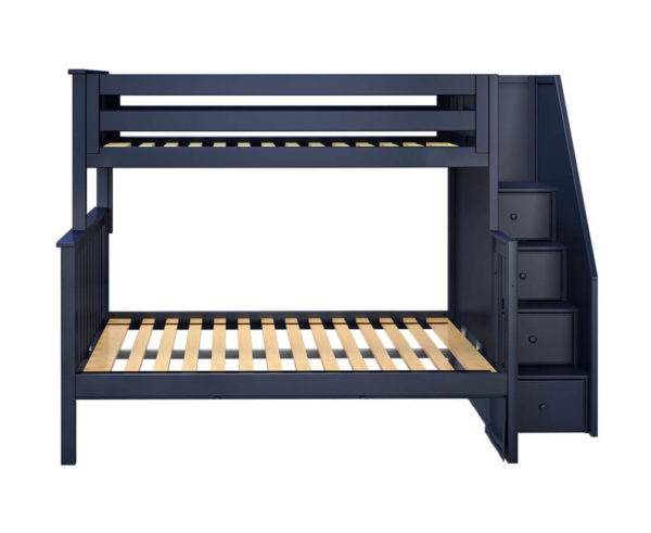 jackpot newcastle twin full bunk bed navy blue front view