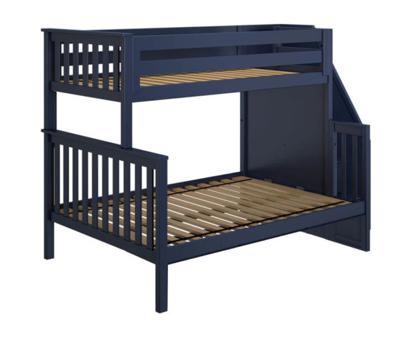 jackpot newcastle twin full bunk bed navy blue left view
