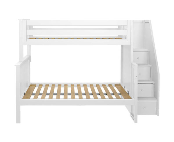jackpot newcastle twin full bunk bed white front view