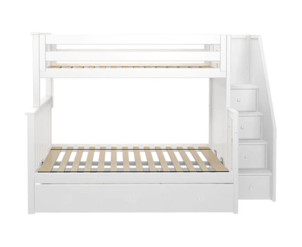 jackpot newcastle twin full bunk bed white with trundle front view