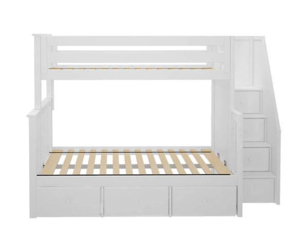 jackpot newcastle twin full bunk bed white with underbed drawers front view