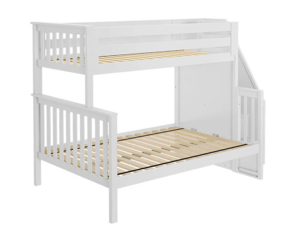 jackpot newcastle twin full bunk bed white left view