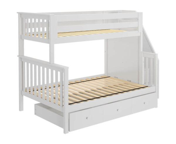 jackpot newcastle twin full bunk bed white with trundle left view