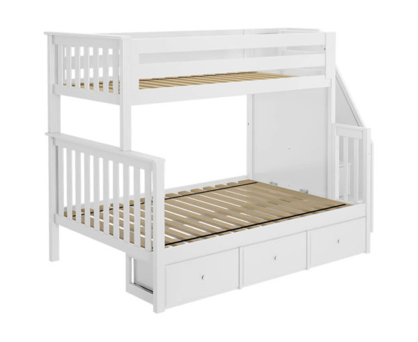 jackpot newcastle twin full bunk bed white with underbed drawers left view