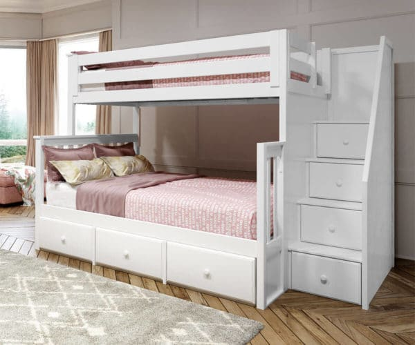 jackpot newcastle twin full bunk bed white with 3 underbed drawers