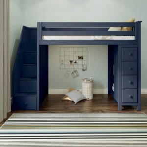 jackpot oxford loft bed with staircase navy blue front