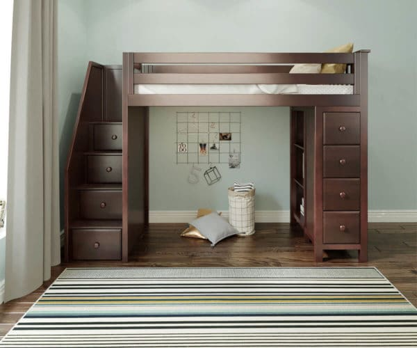 jackpot oxford loft bed with staircase espresso front