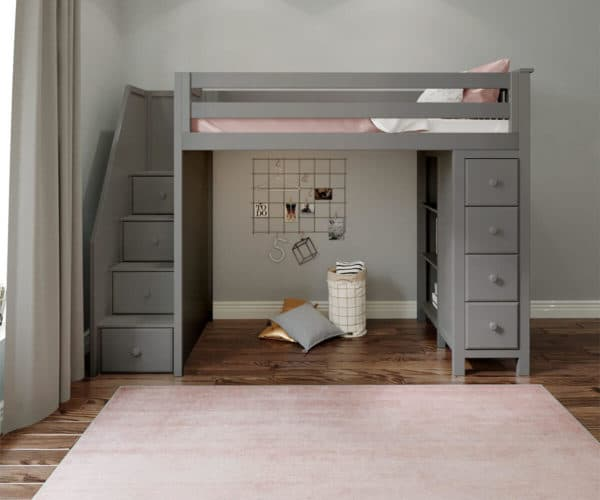 jackpot oxford loft bed with staircase grey front