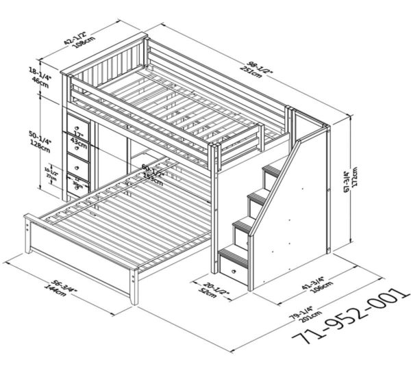 jackpot oxford twin full staircase loft bed with storage dimensions diagram