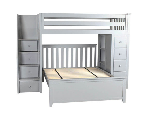 jackpot oxford twin full staircase loft bed with storage grey front view