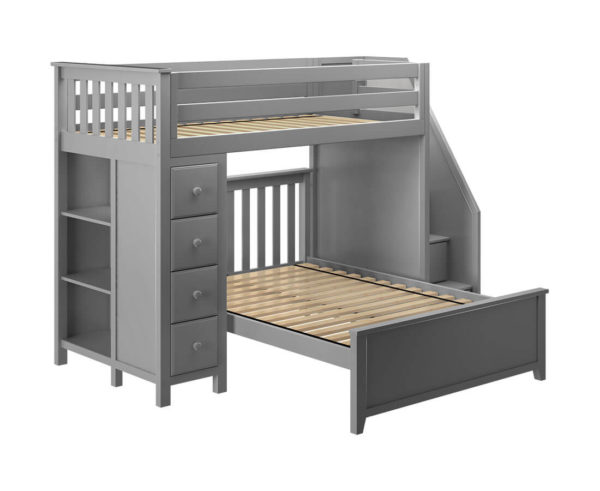 jackpot oxford twin full staircase loft bed with storage grey left view