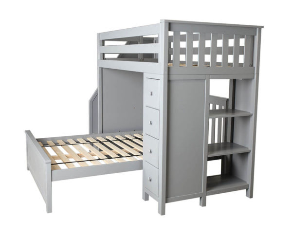 jackpot oxford twin full staircase loft bed with storage grey right view