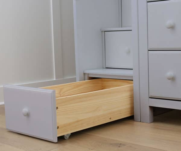 jackpot oxford twin full loft bed grey staircase drawer detail