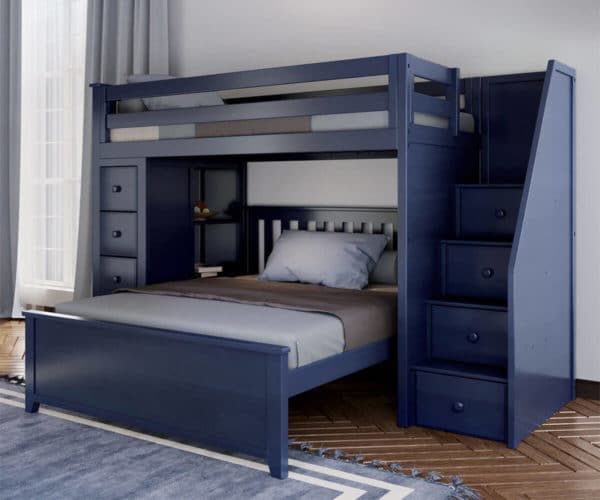 jackpot oxford twin full staircase loft bed with storage navy blue