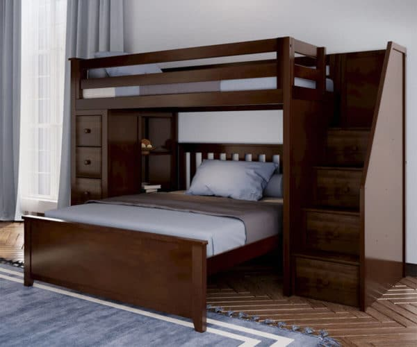 jackpot oxford twin full staircase loft bed with storage espresso